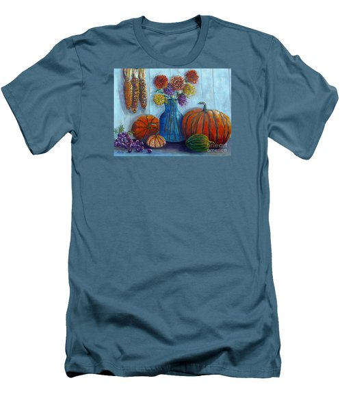 Men's T-Shirt (Slim Fit) featuring the painting Autumn Still Life by Lou Ann Bagnall