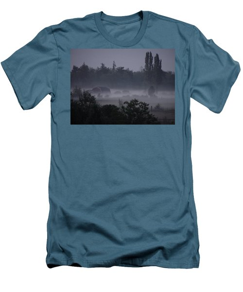 Farm In Fog Men's T-Shirt (Athletic Fit)