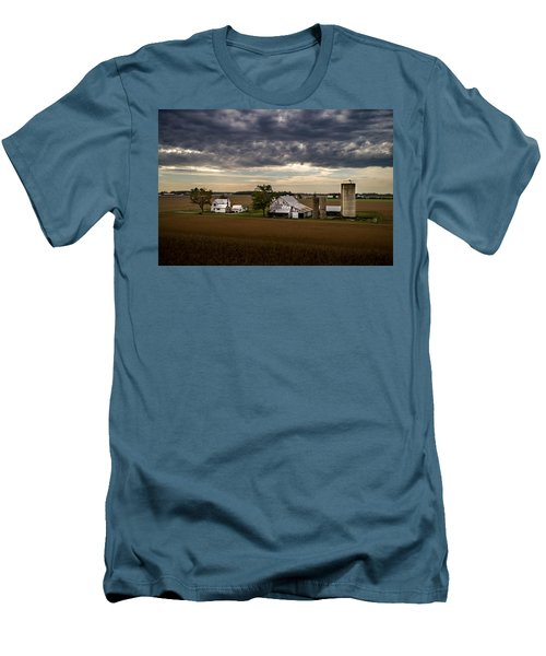 Farmstead Under Clouds Men's T-Shirt (Athletic Fit)