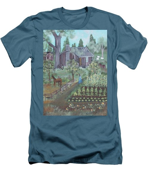 Men's T-Shirt (Slim Fit) featuring the painting Farmstead by Virginia Coyle