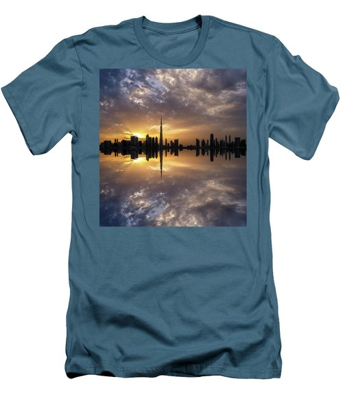 Fascinating Reflection In Business Bay District During Dramatic Sunset. Dubai, United Arab Emirates. Men's T-Shirt (Athletic Fit)