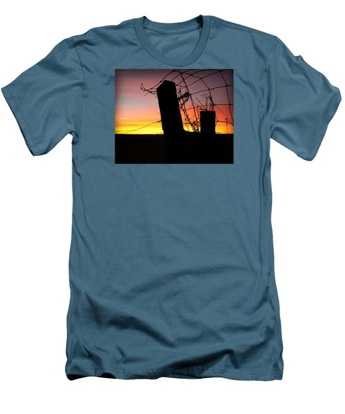 Fence Sunrise Men's T-Shirt (Slim Fit) by Kathy M Krause