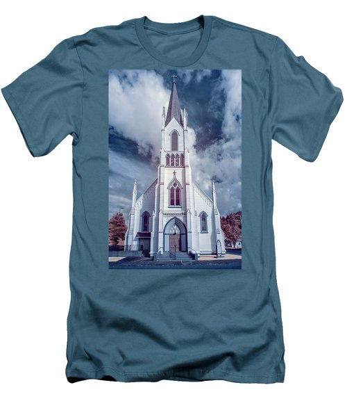 Ferndale Church In Infrared Men's T-Shirt (Slim Fit) by Greg Nyquist