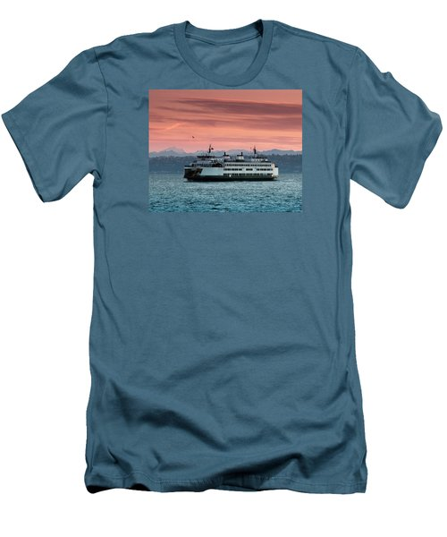 Ferry Cathlamet At Dawn.1 Men's T-Shirt (Slim Fit) by E Faithe Lester