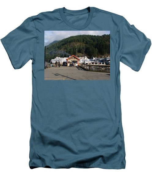 Ferry Landed At Horseshoe Bay Men's T-Shirt (Slim Fit) by Rod Jellison
