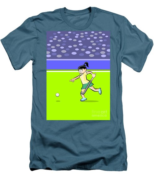 Field Hockey Player Girl Runs Towards The Ball With His Stick In Men's T-Shirt (Athletic Fit)