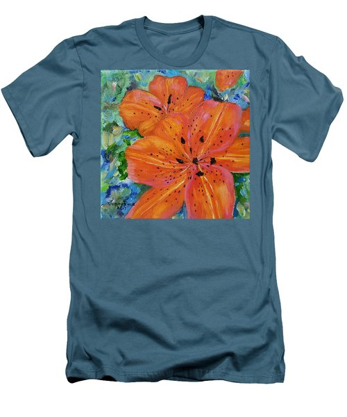 Men's T-Shirt (Athletic Fit) featuring the painting Fierce Tiger by Judith Rhue