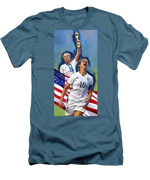 Men's T-Shirt (Slim Fit) featuring the painting Fifa World Cup U.s Women Soccer Carli Lloyd Abby Wambach Artwork by Sheraz A