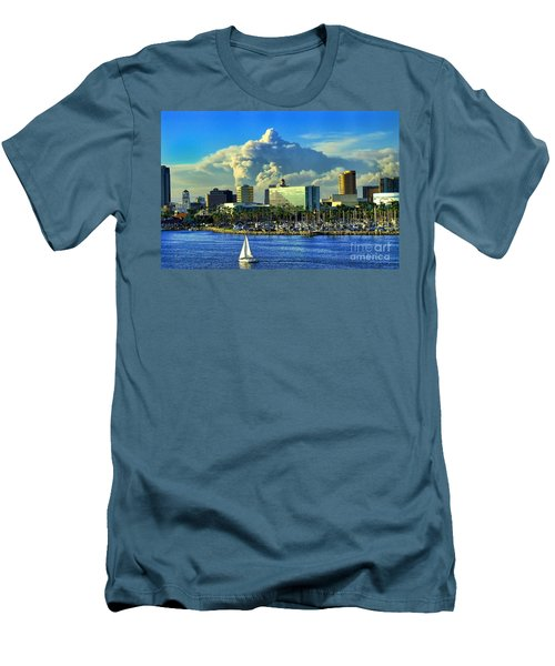 Men's T-Shirt (Slim Fit) featuring the photograph Fire Cloud Over Long Beach by Mariola Bitner