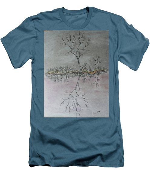 Men's T-Shirt (Slim Fit) featuring the drawing First Frost by Jack G Brauer