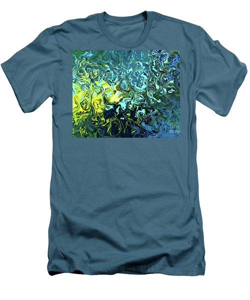 Men's T-Shirt (Slim Fit) featuring the digital art Fish Abstract Art by Annie Zeno