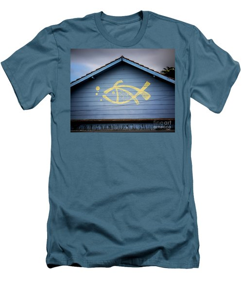 Men's T-Shirt (Slim Fit) featuring the photograph Fish House by Perry Webster