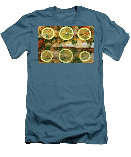 Men's T-Shirt (Athletic Fit) featuring the photograph Fish With Lemon And Coriander By Kaye Menner by Kaye Menner