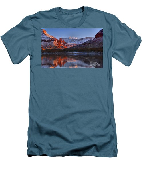 Men's T-Shirt (Slim Fit) featuring the photograph Fisher Towers Glowing Reflections by Adam Jewell