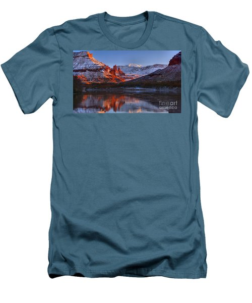 Men's T-Shirt (Slim Fit) featuring the photograph Fisher Towers Sunset Glow Panorama by Adam Jewell