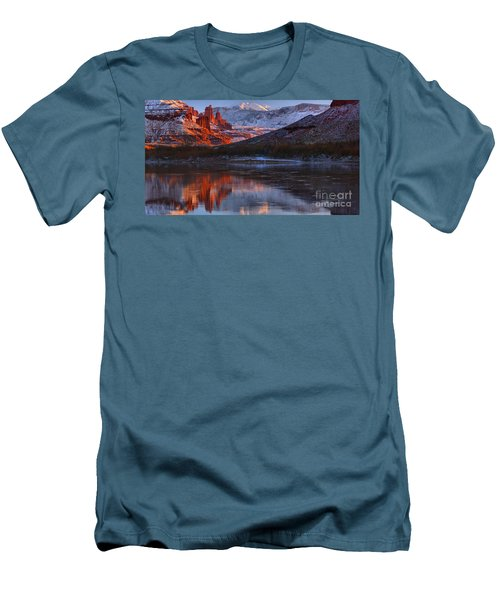 Men's T-Shirt (Slim Fit) featuring the photograph Fisher Towers Sunset Reflection Panorama by Adam Jewell