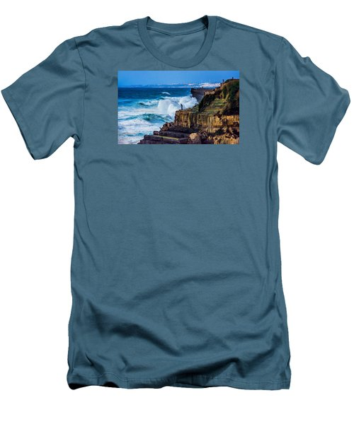 Fisherman And The Sea Men's T-Shirt (Slim Fit) by Marion McCristall