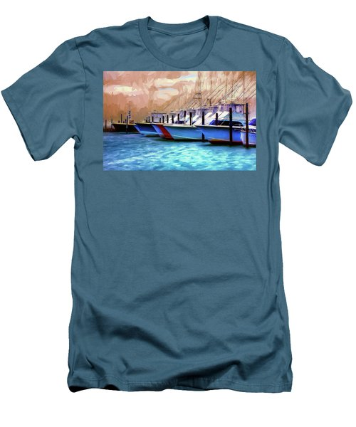 Fishing Boats Of The Outer Banks Ap Men's T-Shirt (Slim Fit) by Dan Carmichael