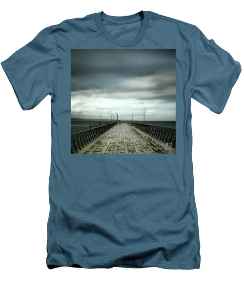 Men's T-Shirt (Slim Fit) featuring the photograph Fishing Pier by Perry Webster