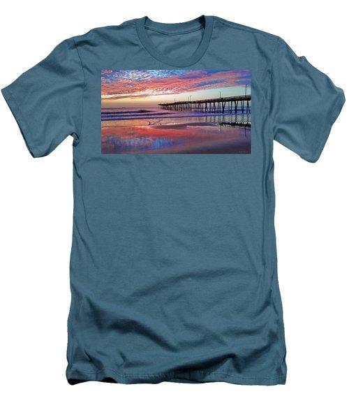 Fishing Pier Sunrise Men's T-Shirt (Slim Fit) by Suzanne Stout