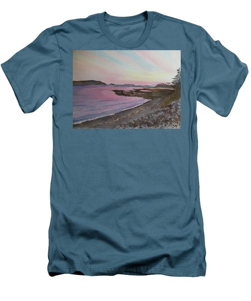 Men's T-Shirt (Athletic Fit) featuring the painting Five Islands - Draft IIi by Joel Deutsch