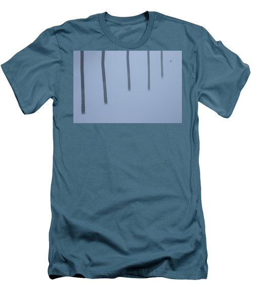 Men's T-Shirt (Slim Fit) featuring the photograph Five Poles And A Duck by Karol Livote