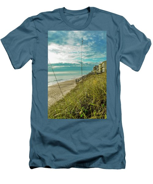 St Aug Beach Men's T-Shirt (Slim Fit) by Josy Cue