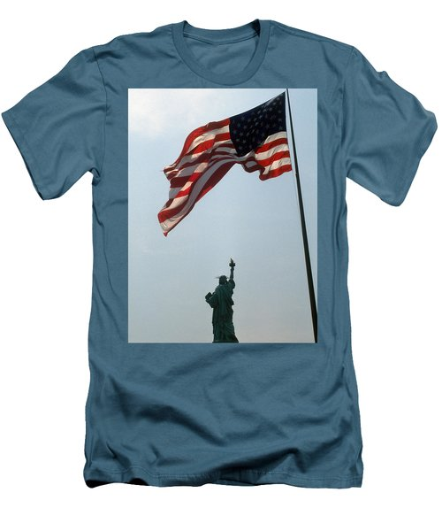 Flag And Statue Of Liberty Men's T-Shirt (Slim Fit) by Carl Purcell