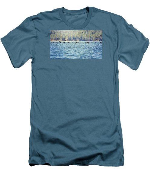 Men's T-Shirt (Slim Fit) featuring the photograph Flock Of Geese by Janie Johnson