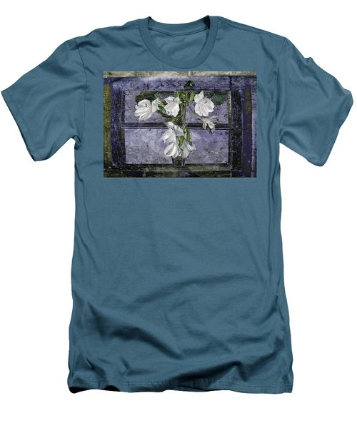 Men's T-Shirt (Slim Fit) featuring the photograph Floral Window Frame by Bonnie Willis