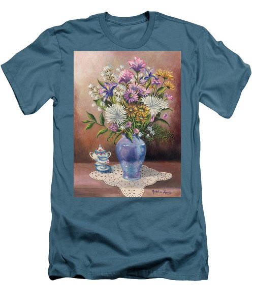Floral With Blue Vase With Capadamonte Men's T-Shirt (Slim Fit)