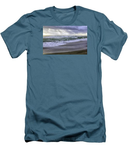 Florida Treasure Coast Beach Storm Waves Men's T-Shirt (Athletic Fit)