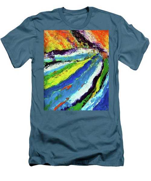 Men's T-Shirt (Slim Fit) featuring the painting Flowage by Everette McMahan jr