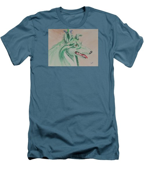 Men's T-Shirt (Slim Fit) featuring the painting Flower Dog # 11 by Hilda and Jose Garrancho