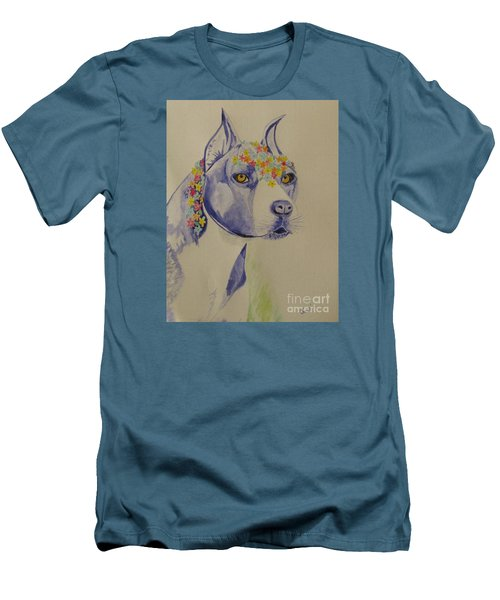Flower Dog 1 Men's T-Shirt (Slim Fit) by Hilda and Jose Garrancho