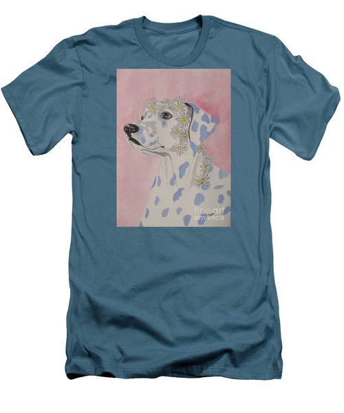 Men's T-Shirt (Slim Fit) featuring the painting Flower Dog 2 by Hilda and Jose Garrancho