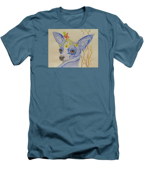 Men's T-Shirt (Slim Fit) featuring the painting Flower Dog 7 by Hilda and Jose Garrancho
