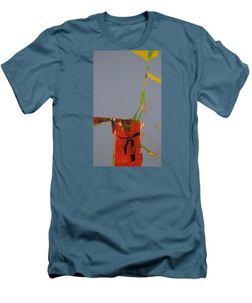 Men's T-Shirt (Slim Fit) featuring the painting Flower In Pitcher- Abstract Of Course by Cliff Spohn