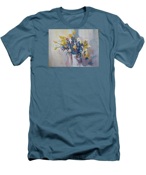 Tulips Flowers Men's T-Shirt (Slim Fit) by Khalid Saeed