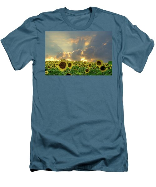 Men's T-Shirt (Slim Fit) featuring the photograph Flowers, Pillars And Rays, His Glory Will Shine by Janice Adomeit