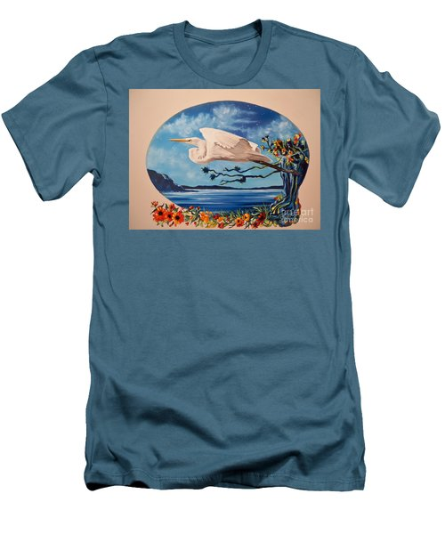 Men's T-Shirt (Slim Fit) featuring the painting Flying Egret by Sigrid Tune