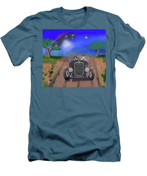Flying Saucers Attack Teenage Hot Rodders Men's T-Shirt (Slim Fit) by Ken Morris