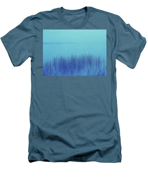 Men's T-Shirt (Slim Fit) featuring the photograph Fog Reeds by Laurie Stewart