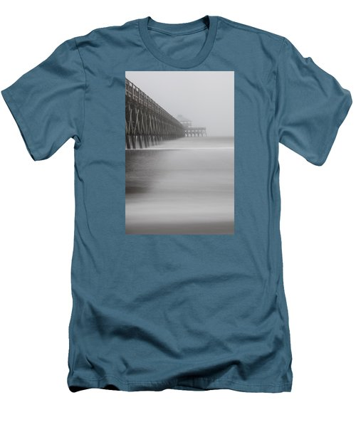 Foggy Folly Beach Pier Men's T-Shirt (Slim Fit) by John McGraw