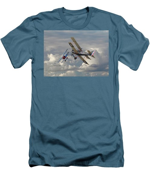 Men's T-Shirt (Slim Fit) featuring the digital art Fokker Dvll And Se5 Head To Head by Pat Speirs