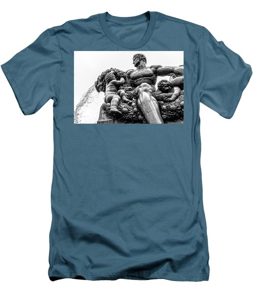 Men's T-Shirt (Slim Fit) featuring the photograph Fontana Di Piazza Solferino-1 by Sonny Marcyan