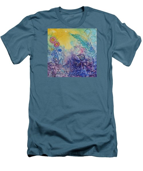 Men's T-Shirt (Slim Fit) featuring the painting Forest Light by Nancy Jolley