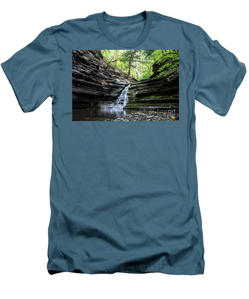 Men's T-Shirt (Slim Fit) featuring the photograph Forest Waterfall by MGL Meiklejohn Graphics Licensing