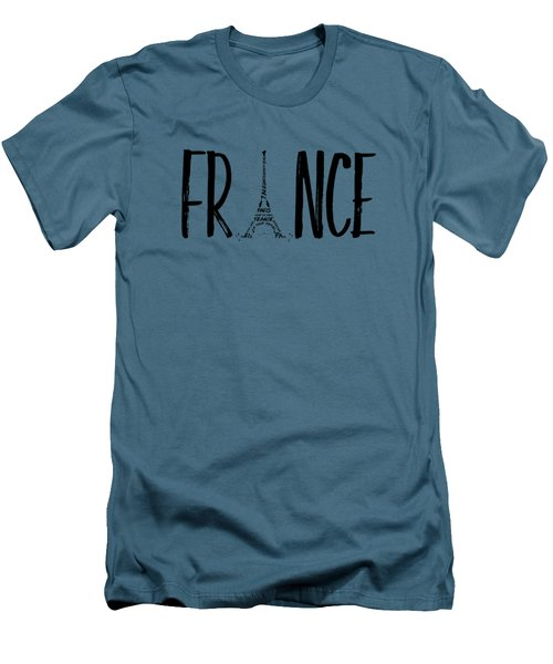 France Typography Men's T-Shirt (Slim Fit) by Melanie Viola