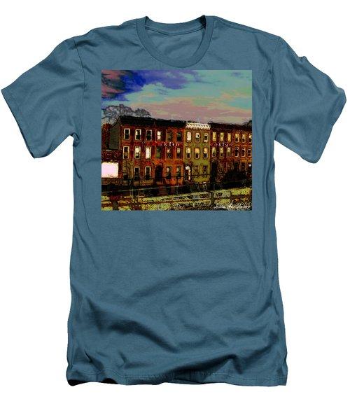 Franklin Ave. Bk Men's T-Shirt (Slim Fit) by Iowan Stone-Flowers